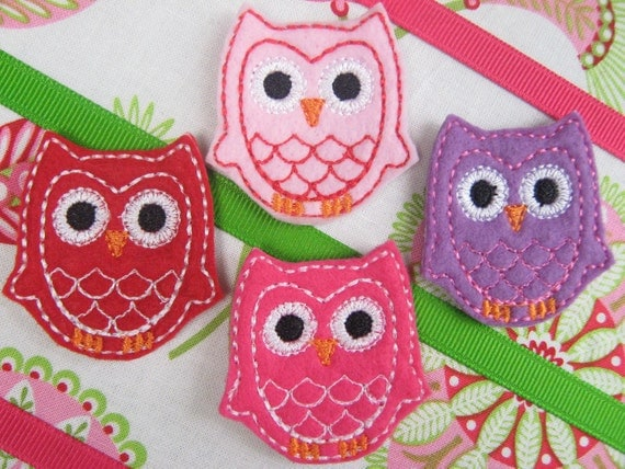 Wholesale Machine Embroidered Owls - Four (4) Embroidered Felts