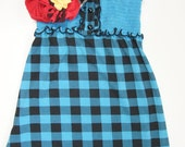 Teal Picnic Upcycled Tank Dress - 3/4T - 7/8