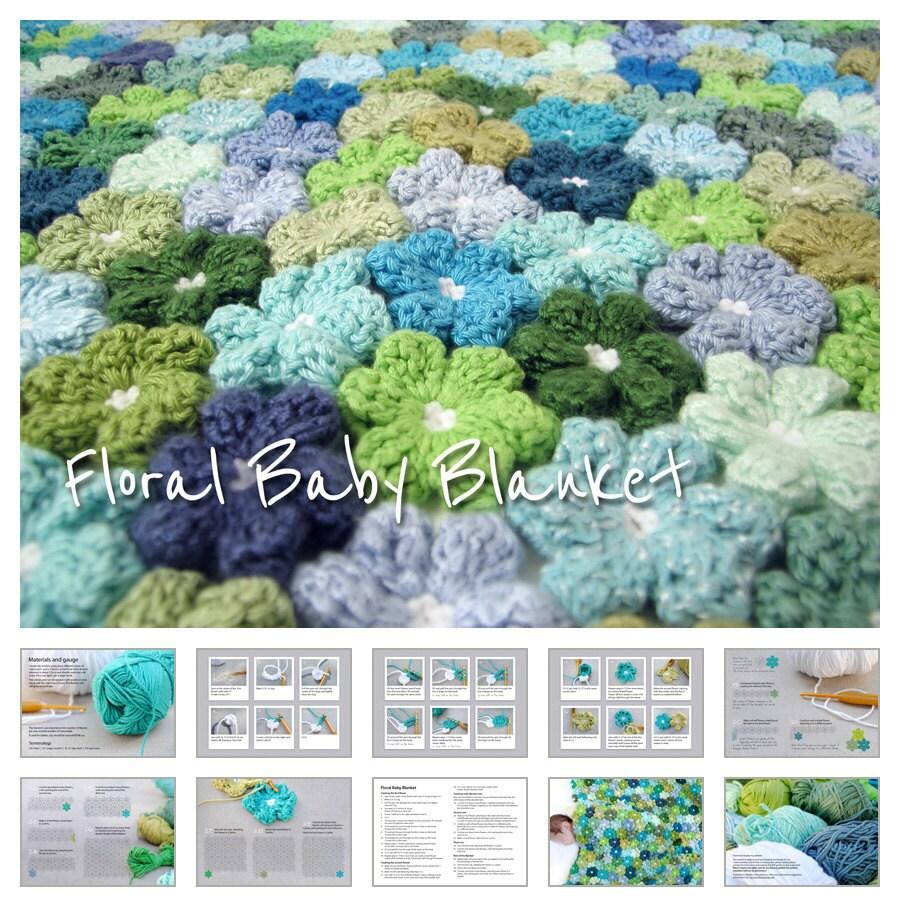 çiçek motifli bebek battaniyesi modeli