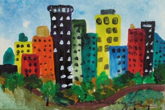 ACEO- City Park-Original painting