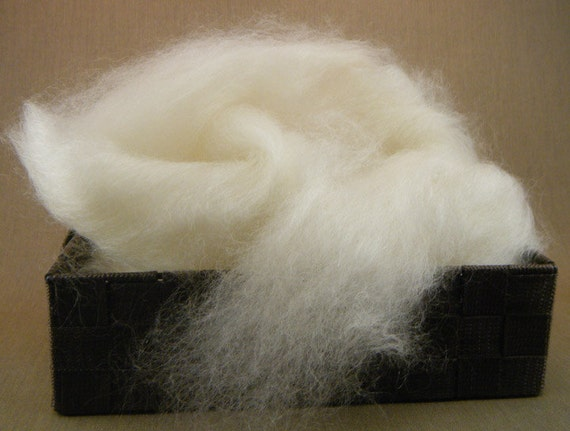 100% White Adult Mohair Roving - 4 oz. of silky-smooth shine