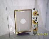 Handpainted sunflowers on glass picture frame