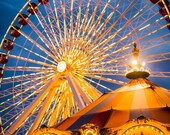 Ferris Wheel Navy Pier Photograph.  Chicago Landscape Photo.  Carnival Photo.  Fine Art Photography