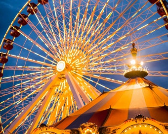 Ferris Wheel Navy Pier Photograph.  Chicago Landscape Photo.  Carnival Photo.  Fine Art Photography