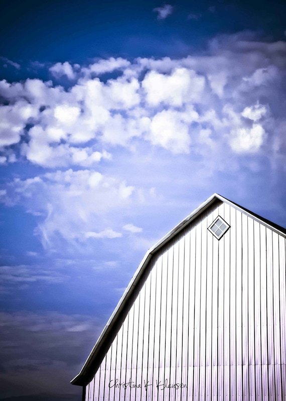 Deep Blue Sky Photo. Barn Photo. Storm Clouds. Rain. Blue. Wispy Clouds. Wisconsin. Storm. Landscape Photography.  Fine Art Photography