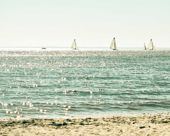 Sailboats Photo. Beach Photograph. Calming Beach Photo. Peaceful. Calming. Relaxing. Turquoise. Teal. White. Fine Art Photography.