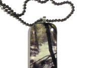 Glass Pendant Necklace with View of Bridal Veil Falls River in Yosemite National Park
