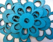 Turquoise Leather Flowers/ Leather Supplies/ Jewelry Supplies/ Crafts/ Aplique/ Embellishments/Laser cut/ 10 Pieces