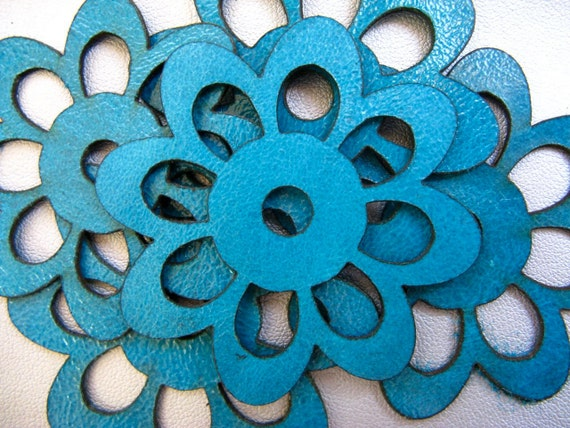 Turquoise leather flowers leather supplies jewelry supplies for Leather flowers for crafts