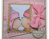 OOAK Gorgeous Handmade Valentines Card Teddy Bo & Bea