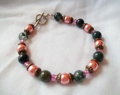 Jade and Coral Clasp Bracelet