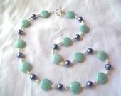100% Donation Item-- Beautiful Amazonite & Cornflower Blue Necklace