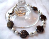 Brown Picasso Coin Bead Bracelet with White Glass Pearls & Hematite