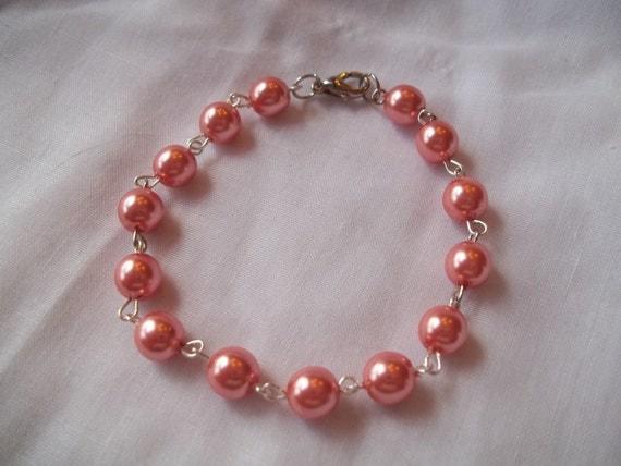 Reserved for Mitzy-- Coral Beaded Link Bracelet