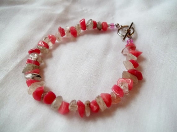Pink and Clear Chip Bracelet