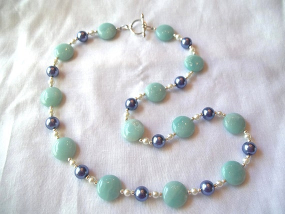 100% Donation Item-- Beautiful Amazonite & Cornflower Blue Necklace