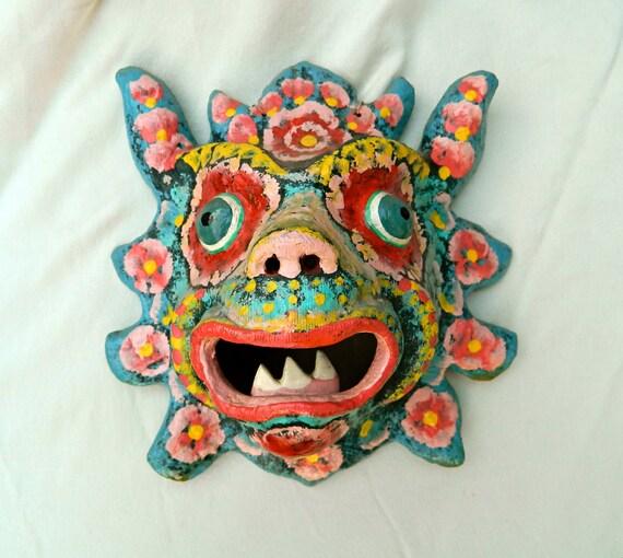 Vintage Antique Polychrome Outrageous Mexican Papier Mache Animal Mask Cinco de Mayo
