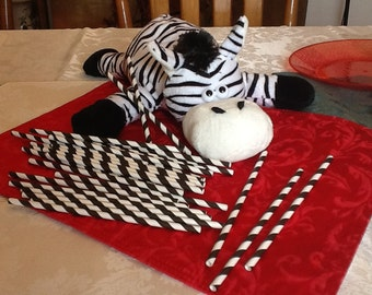 25 Piece Zebra Striped Straws with Do-it-yourself (DIY) Flags