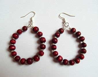 Red beaded hoops