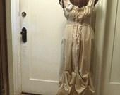 Wedding Dress Vintage Inspired Womens Sand Maxi Floor Length Bridal Gown Fashion Custom Tan Tea Dyed Corset Tiered Hem