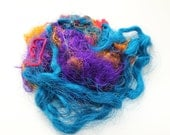 Sari Silk Bright Purple Blue and Mustard Recycled Embellishment Fiber for Art Batts for Spinning 29 gr