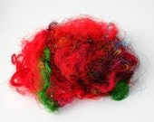 Sari Silk Red with hints of green Recycled Embellishment Fiber for Art Batts for Spinning 11 gr