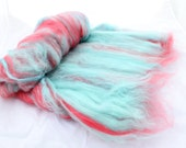 Spinning Fiber Art Batt - Aqua Blue, Hot Pink - Paris Rooftops - 3.32 oz