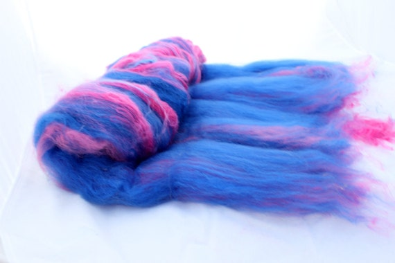 Spinning Fiber Art Batt - Royal Blue and Fuchsia - Royal Pink -  3.04 oz