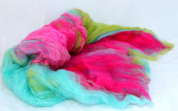 Spinning Fiber Art Batt - Aqua, Green and Fuchsia - Happy Jump -  3.20 oz