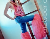 Thigh high Glitter Fluffy legwarmers rave gogo boots Above the knee fluffies gogo rave anime