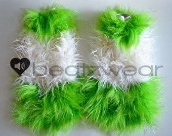 CUSTOM 3 STRIPE Fluffies gogo style fluffy legwarmers w/extra wide flare fuzzy rave boots anime rave
