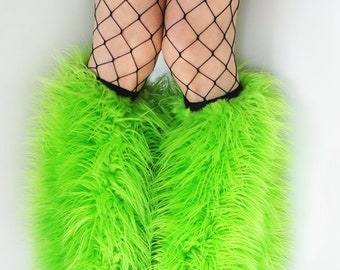 MADE TO ORDER uV LiMe Fluffies Fuzzy Leg Warmers fluffy boot covers rave anime gogo costume festival leggings
