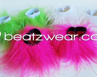 MADE TO ORDER  wrist cuffs accessories Fluffy single color rave festival raver gogo faux fur rave fluffies