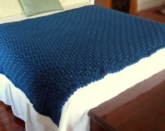 Hand Crocheted Afghan, teal-blue, 48 in. x 64 in., handmade, shell stitch, crochet afghan