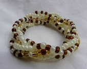Neutrals 5 Strand Beaded Stretch Bracelet - Custom Made to Size