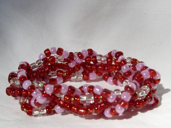 Pink and Red 5 Strand Beaded Stretch Bracelet - Will Custom Make to Size