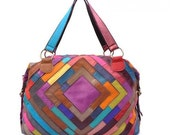 SALE /// Leather Purse /// Leather Patchwork Drape Handbag /// Multi-Color Tote Bag NO.M41-1