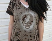 Grateful Dead Cosmical Bleached Dyed Metallic Steal Your Face Womens Vneck Shirt