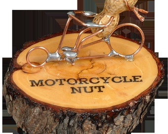 "Motorcycle Peanut Figurine ""Motorcycle Nut"" by We're Nuts About Life"