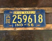 Vintage 1956 Indiana dark Blue License Plate From The Crow & Hutch