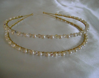 Double Crystal & Creamrose Pearl Band