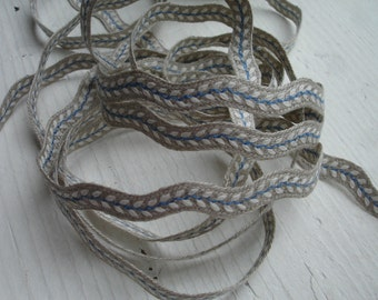 Natural Ric Rac Sewing Tape / Ribbon / Trim /  - Embroidery White Blue  Spike of Corn   - Edging   France Craft and Sewing Project Wrapping