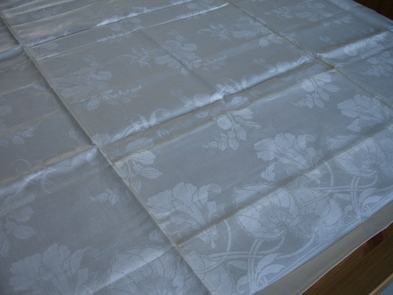SALE PRICE REDUCED Linen  Silky  Double Damask Tablecloth Art Nouveau Arts Crafts  Germany 1900 UnuseD