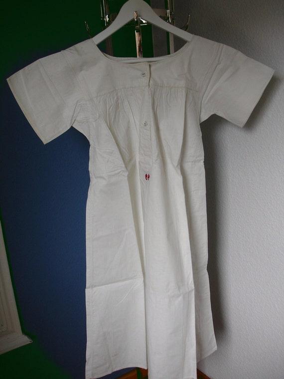 Antique White Of Cream Linen Blend Nightgown Night Gown Nightdress Night Dress Nightshirt Night Shirt Monogram OP Europe  Germany Unworn