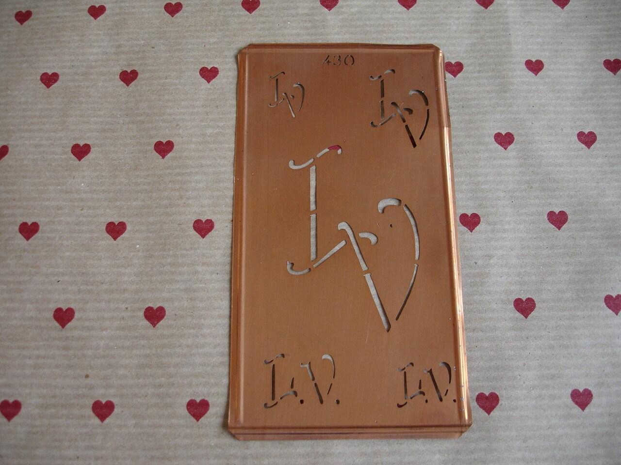 Copper Monogram Stencil lv