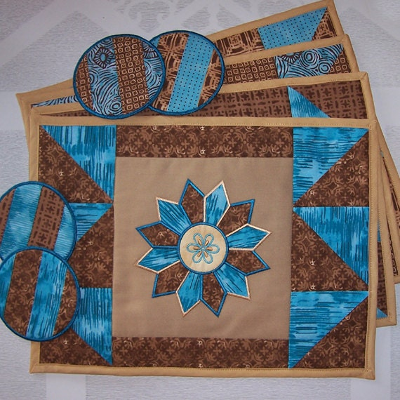 Appliqued Starburst Embroidered Placemats and Matching Coasters