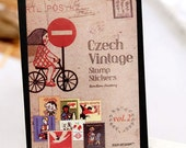 Korea Czech Vintage stamp sticker set (16 contents) - Paper sticker - girl on bicycle