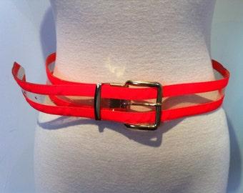 Vintage Neon Belt, Size Large, Gutos Neon Orange and Clear Belt, Ladies' Vintage Belt, Size Lg, Retro Belt, Hipster, 60's Belt