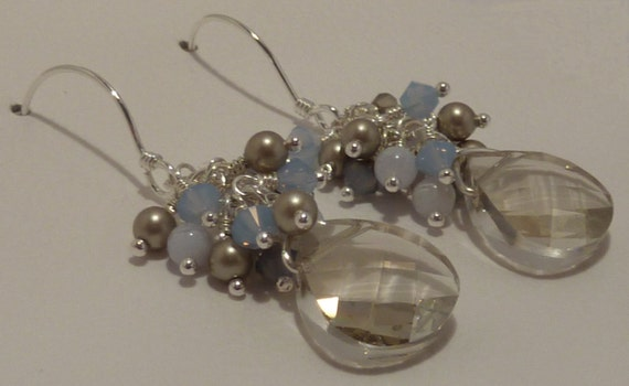 Swarovski crystal, pearl and blue lace agate cluster drop earrings