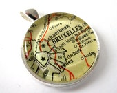 Vintage Map Pendant of Brussels, Belgium, in Glass Tile Circle